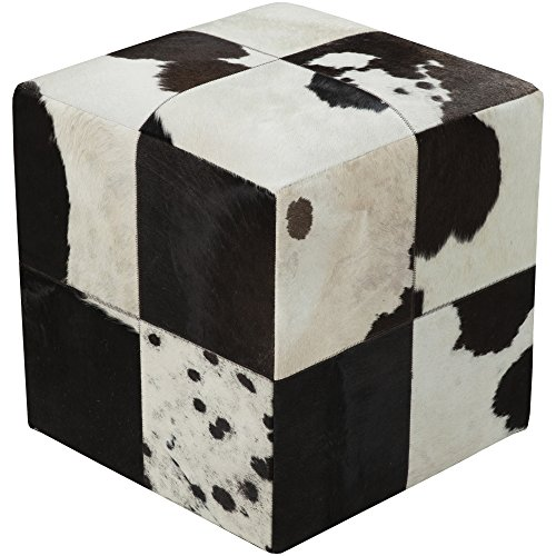 Surya POUF-56 Hand Made 100% Leather Ivory 18'' x 18'' x 18'' Pouf by Surya