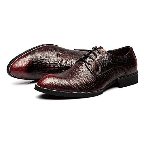 da traspirante Business Up Color oxford EU Scarpe Rosso Texture Jiuyue in di 2018 Pelle coccodrillo shoes Uomo Scarpe uomo 41 pelle vera Rosso superiore Dimensione Lace foderato 6Oftna