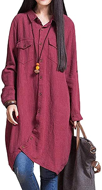 Heeecgoods Blusa Larga de Las Mujeres Top Irregular Hem Suelto Casual Botones Camisa Vestido (Color : Vino Rojo, tamaño : L): Amazon.es: Hogar