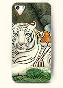 OOFIT phone case design with Two Different Tiger for Apple iPhone 4 4s