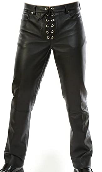 89047b50c15e Real Lambskin Nappa Leather Trousers with Ties Model S125 Size W29 - W46 -  Black - W29  Amazon.co.uk  Clothing
