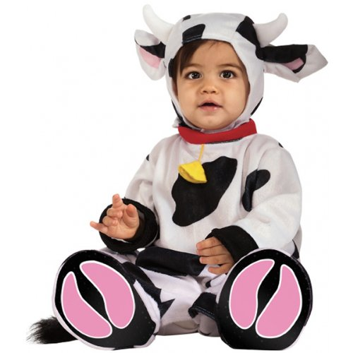 Rubie's Cuddly Jungle Mr. Moo Cow Romper Costume, White/Black, 12-18 Months