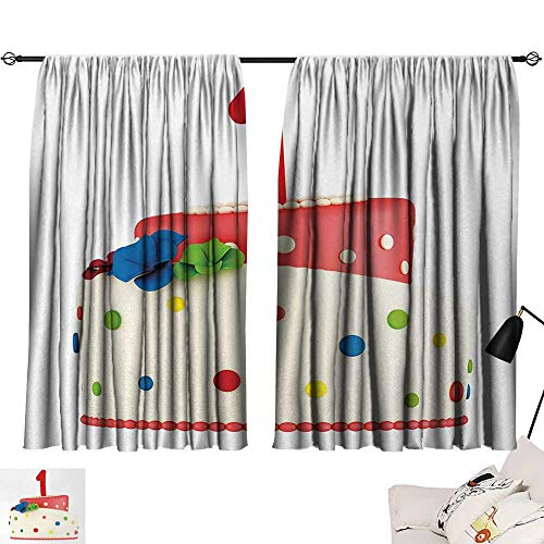 Jinguizi 1st Birthday Curtain Backdrop Baby Party Celebration with Colorful Cute Sweet Dots and Flowers Image Household Darkening Curtains Red and White W55 x L39 by Jinguizi (Image #6)