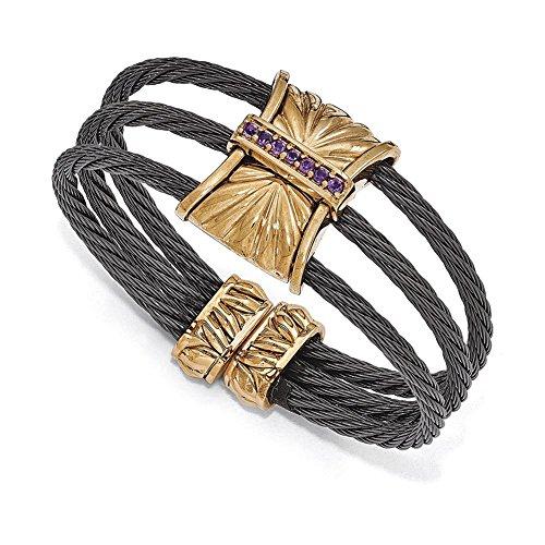 Lex & Lu Edward Mirell Titanium & Bronze Amethyst Cable Cuff Bangle-Prime (Amethyst Cable Bangle)