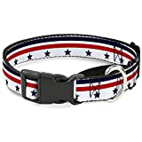 Buckle-Down Americana Stars & Stripes5 White/Blue/Red Martingale Dog Collar, 1.5