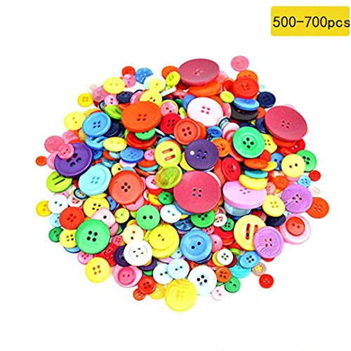 Dshengoo 500-700 Pieces Resin Buttons Assorted Colors and Shapes Buttons for DIY Crafts Sewing Decorations, 2 Holes and 4 Holes ()