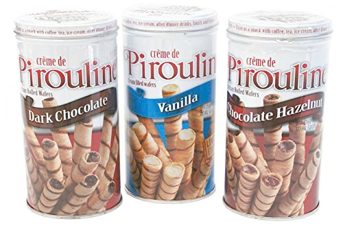 Pirouline Artisan Rolled Wafers Bundle - Three Items: One 3.25 Oz Canister of Limited Edition Vanilla, One 3.25 Oz Canister of Dark Chocolate, One 3.25 Oz Canister of Chocolate Hazelnut