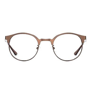 0337b827b07 TIJN Neue Rund Metall Brillengestelle Herren Brille Ohne Stärke  Metallgestell Brillenfassung Damen Herren (Braun)