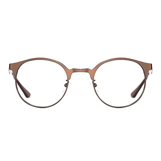 0bb5d1242759 TIJN New Round Metal Non-prescription Glasses Frame with Clear Lens   Amazon.co.uk  Clothing