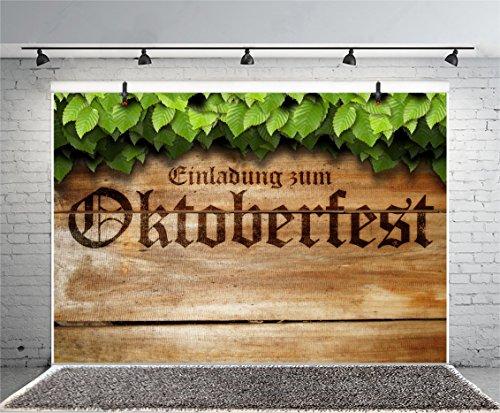 (Leyiyi 5x3ft Photography Background Octoberfest Backdrop Global Event Beer Festival Germany Carnival Bar-b-q Vintage Wooden Board Green Plants Spearmint Leaves Photo Portrait Vinyl Studio Video Prop)