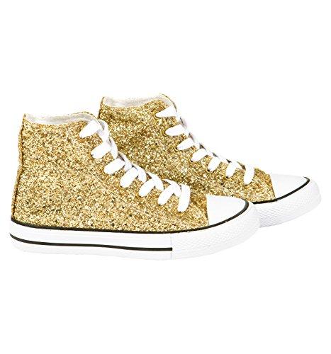 Sneaker Alta Moda Glitterata, Glitter Oro