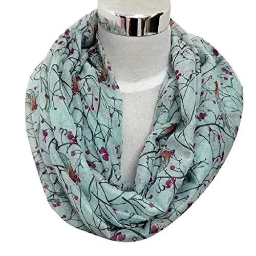 Christmas Gift, Egmy 1PC Womens Cute Bird Print Scarf Shawl Soft Scarves Winter Warm (Light Blue)
