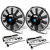 9 Inch High Performance Black Electric Radiator Cooling Fan Kit (Pack of 2)