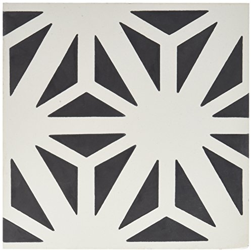 Moroccan Mosaic & Tile House CTP67-01 Azemour 8''x8'' Handmade Cement Tile in Black and White (Pack of 12), Blackwhite -