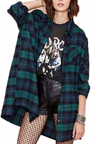 ZANZEA Women Fannel Long Sleeve Shirts Loose Casual Plaid Check Tartan Blouse