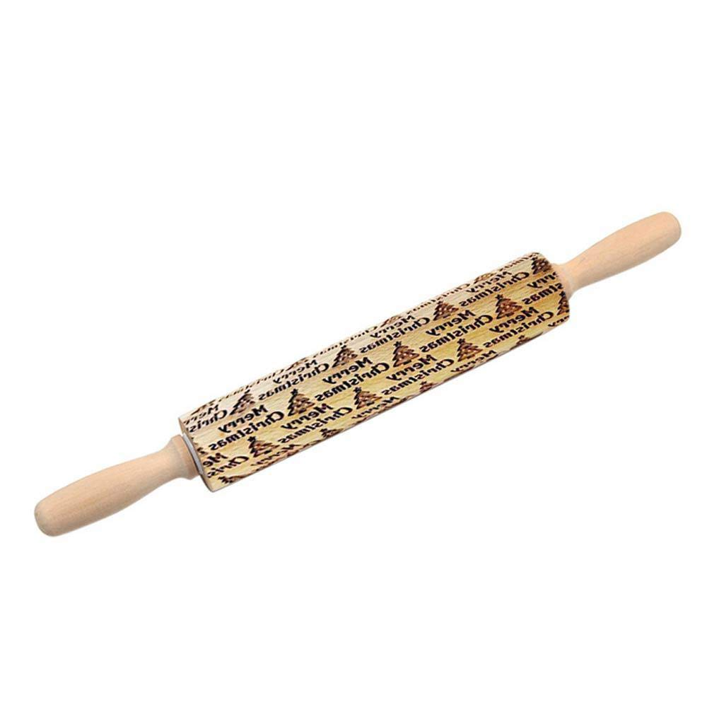 Christmas Rolling Pins, LEEGOAL Embossing Rolling Pins for Baking Rolling Pins with Patterns Christmas Theme Rolling Pin