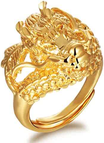 9bd19a2c2 OPK Jewelry Luxury 18K Yellow Gold Plated Cool Dragon Mens Cocktail Party  Ring Band Adjustable