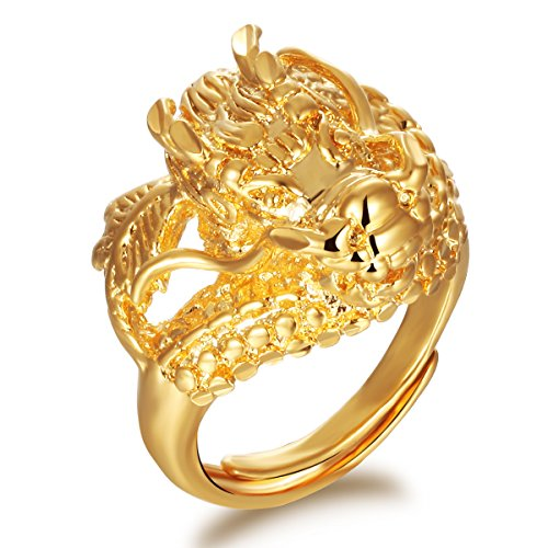 (Fashionable Stainless Steel 18K Gold Tone Chinese Dragon Charm Ring For Men Adjustable)