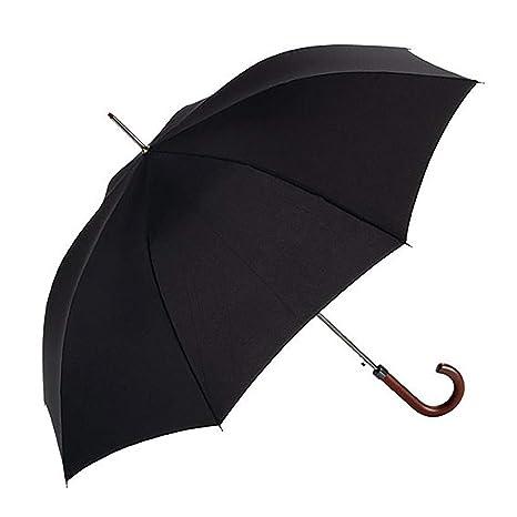 EZPELETA Paraguas Largo de Hombre. Antiviento, automático y con puño de Madera.Tejido Liso Negro - Negro