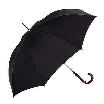 EZPELETA Paraguas Largo de Hombre. Antiviento, automático y con puño de Madera.Tejido Liso Negro - Negro: Amazon.es: Equipaje