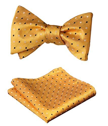 SetSense Men's Check Jacquard Wedding Party Self Bow Tie Pocket Square Set Yellow