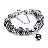 MUERDOU Mother Charms Bracelet for Girls and Women Murano Glass Beads Butterfly Flower Charms Amethyst Bracelets (Amethyst Charm Bracelet) Reviews