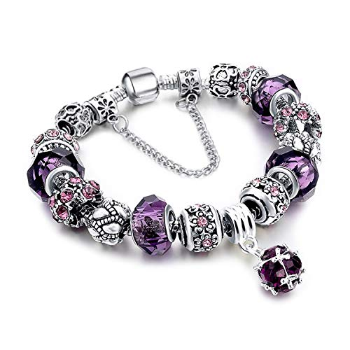 Mother Charms Bracelet for Girls and Women Murano Glass Beads Butterfly Flower Charms Amethyst Bracelets (Amethyst Charm Bracelet) (Mother Charm Bracelet)