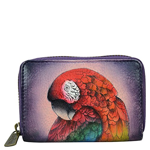 Anuschka Women's Credit and Business card holder Hand Painted Leather,Rainforest - Anuschka Leather Genuine