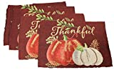 Twisted Anchor Trading Co Set of 4 Thankful White Pumpkin Fall Placemats Thanksgiving Tapestry Style Autumn Home Decor - Thanksgiving Placemats