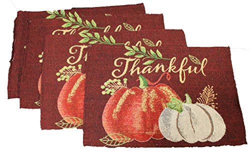 Twisted Anchor Trading Co Set of 4 Thankful White Pumpkin Fall Placemats Thanksgiving Tapestry Style Autumn Home Decor - Thanksgiving Placemats by Twisted Anchor Trading Co