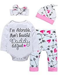 Baby Girl Clothes Letter Romper + Arrow Heart Pants + Headband + Hat Outfits 4pcs