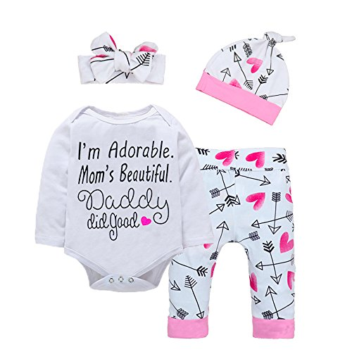 Baby Girl Clothes Cute Letter Romper + Arrow Heart Pants + Headband + Hat Outfits 4pcs 0-6 Months