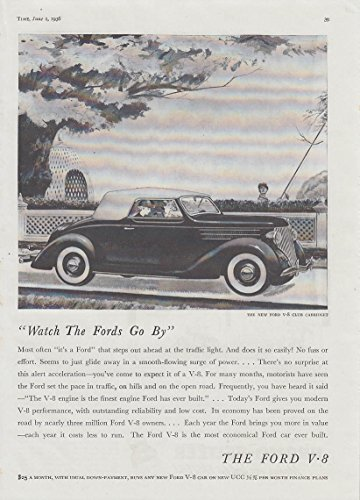 Watch the Fords Go By! Ford V-8 Club Cabriolet ad 1936 T