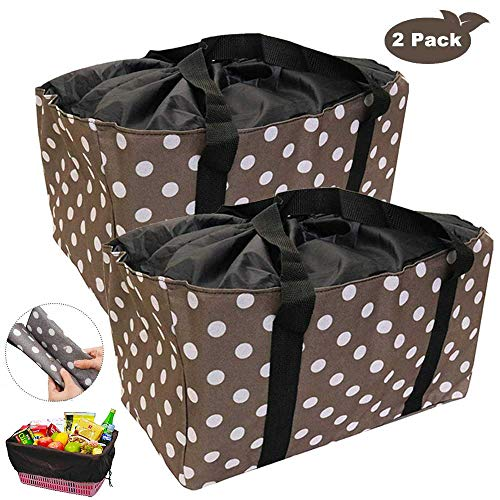 Reusable Grocery Bags, Extra-Large Oxford Cloth Shopping Totes, Drawstring Tote for No-Dropping, Set of 2 Collapsible Reinforced Bottom, Stands Upright Shopping Bags Washable (Brown Dot)