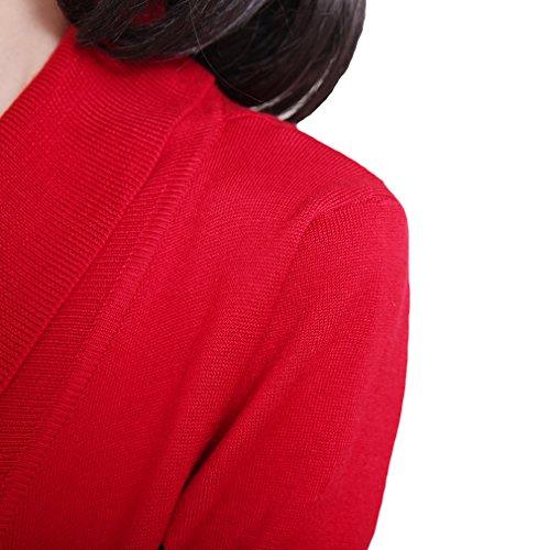 Fit maglioni La Maglia Donna Da Vogue Rosso Causale Slim Cardigan A tBxx16wq5
