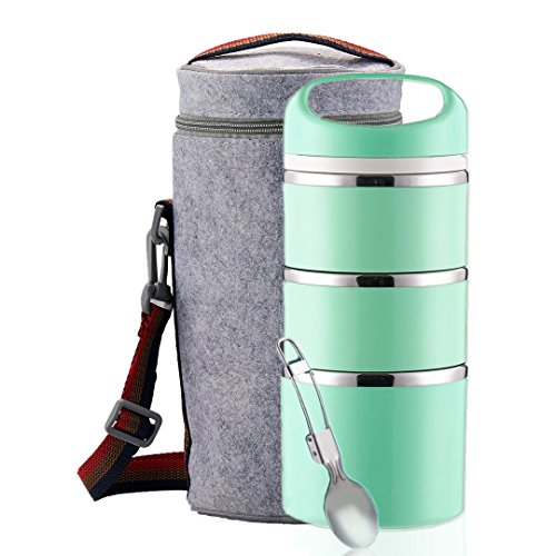 (Lille Home Stackable Stainless Steel Thermal Compartment Lunch Box | 3-Tier Insulated Bento Box/Food Container with Insulated Lunch Bag & Foldable Stainless Steel Spoon)