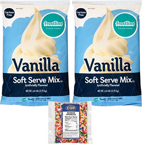 Frostline Lactose Free Vanilla Soft Serve Mix 6 Pound Bag (Pack of 2) with By The Cup Rainbow Sprinkles