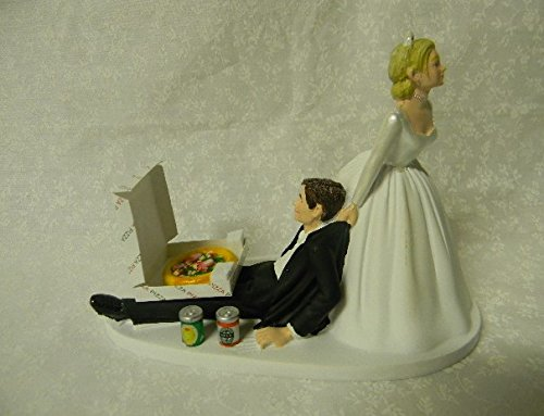 Wedding Party Bridal Pizza & Beer Funny Cake topper Drunk Groom