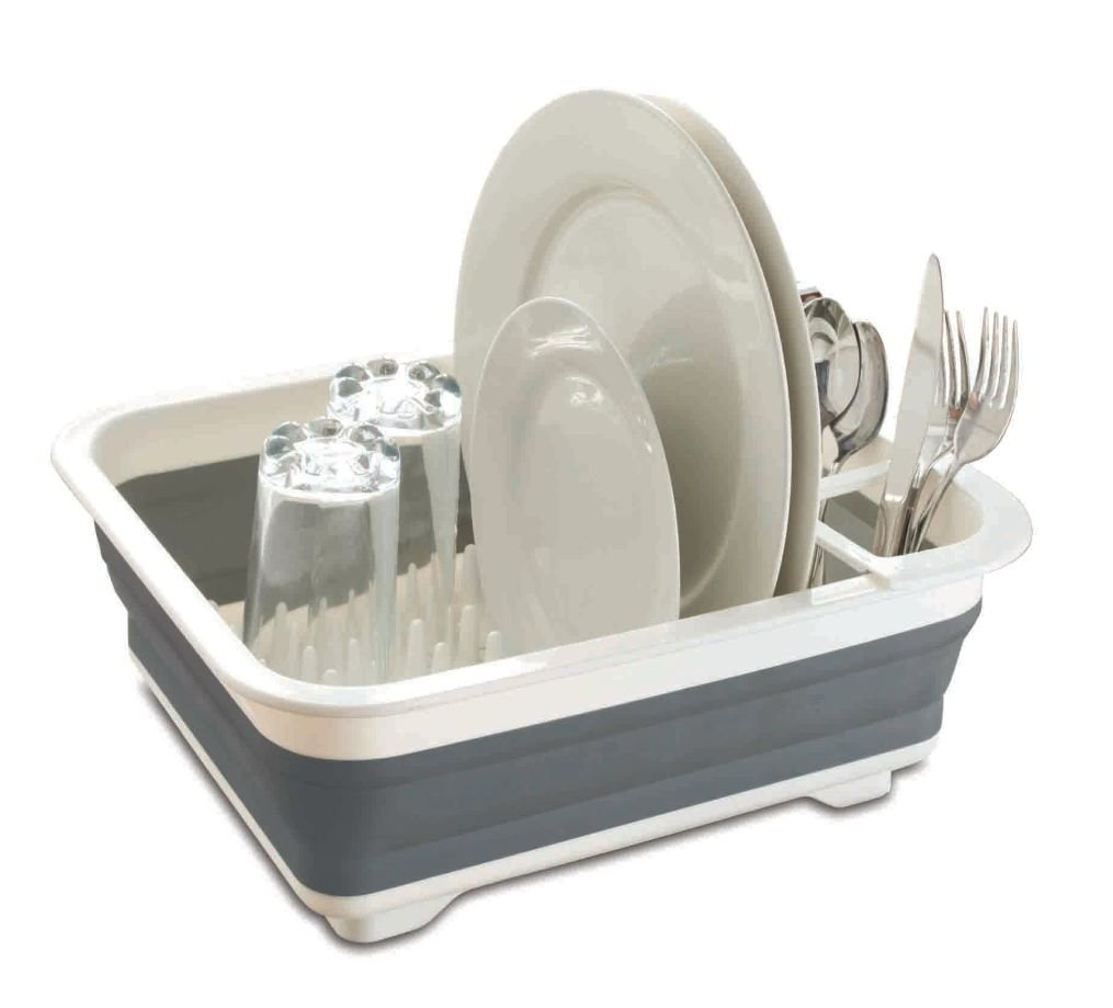 Home Basics Easy Storage Collapsible Dish Rack and Drainer with Cutlery Holder