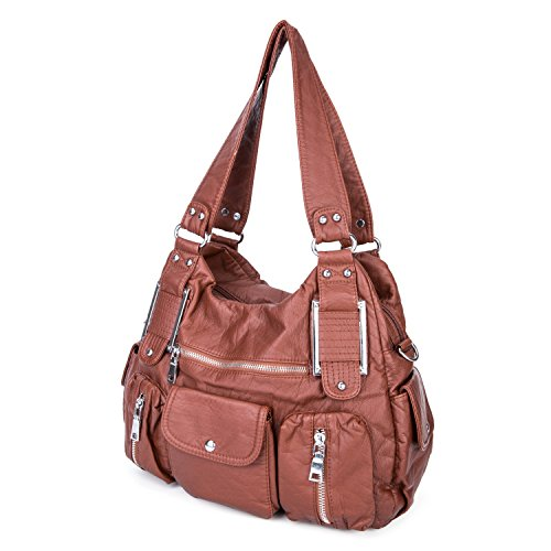 Body Large Women Girls Tote Black Capacity Cross Handbag Body Cross Leather Brown Bags for Washed Ladies Soft w7S4XWqf