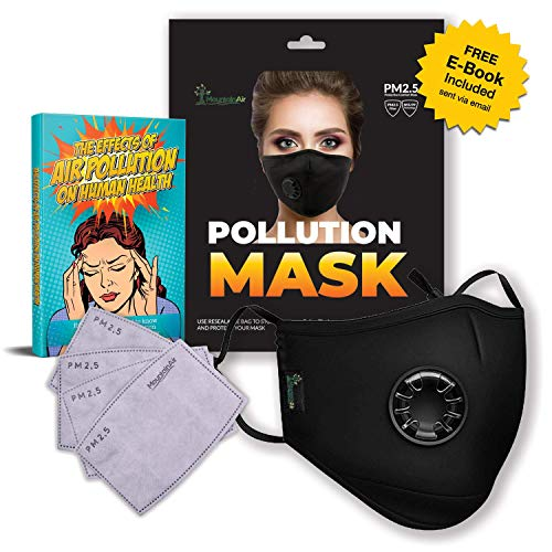 Best Air Pollution Cotton Face Mask with 4 Carbon Filters and Respirator Valve - Anti-Dust, Smoke, Allergies, Gas, Germs and Flu - Washable and Reusable - Supports Breathing Clean Air - N95 Protection