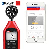 Bluetooth Wind Speed Meter, UNI-T UT363BT Handheld Mini Digital Anemometer with Thermometer and Max/Min for Weather Data Collection and Outdoors Sports Windsurfing Sailing With Backlight LCD Display