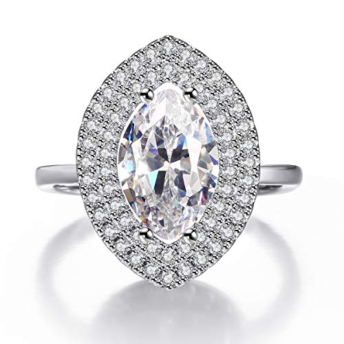 3ct CZ Marquise Cut Solitaire Halo Promise Engagement Ring for Women White Gold Plated Size 7