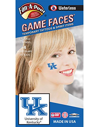 University of Kentucky (UK) Wildcats - Waterless Peel & Stick Temporary Spirit Tattoos - 4-Piece - Blue/White UK Logo