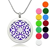 Essential Oils Diffuser Necklace Lademayh 30mm Stainless Steel Pendant Locket Necklace Aromatherapy Jewelry, Perfume Necklace with 24'' Chains & 12 Refill Pads