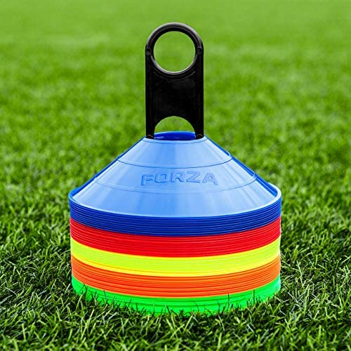 FORZA Training Marker Cones [50 Pack] – Premium-Grade Training Cones & Stand | Multi Sport – Rugby/Netball/Football Cones | Sports Equipment – 5 Colour Options