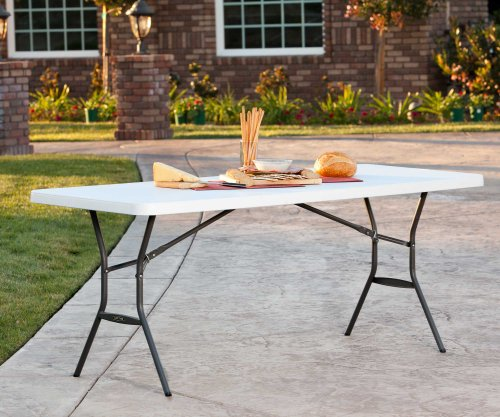 081483250113 - Lifetime 25011 Fold In Half Commercial Table, 6 Feet, White Granite carousel main 3