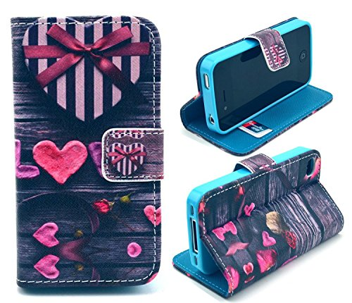 iphone 4 Case,iphone 4S Case, Welity Cute Fashion gift of love Magnetic Snap Wallet Flip PU Leather With Stand Cover Case for Apple iPhone 4/4S/4G and one gift