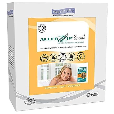 Protect-A-Bed AllerZip Smooth Mattress Encasement, Queen - Allerzip Waterproof Bed Bug