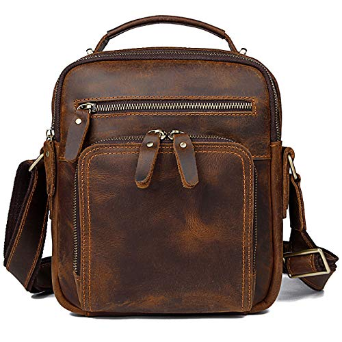 YOGCI Leather Messenger Bag for Men Vintage Crossbody Shoulder Bag, Fit Cell Phone Purses Wallet iPad with Metal Zippers Dark Brown